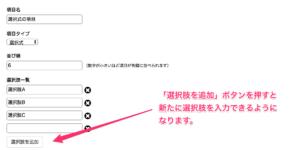 「選択肢を追加」ボタンを押すと新たに選択肢を入力できるようになります。